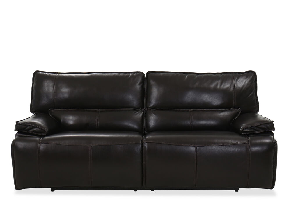 Casual Leather Power Reclining Sofa in Brown