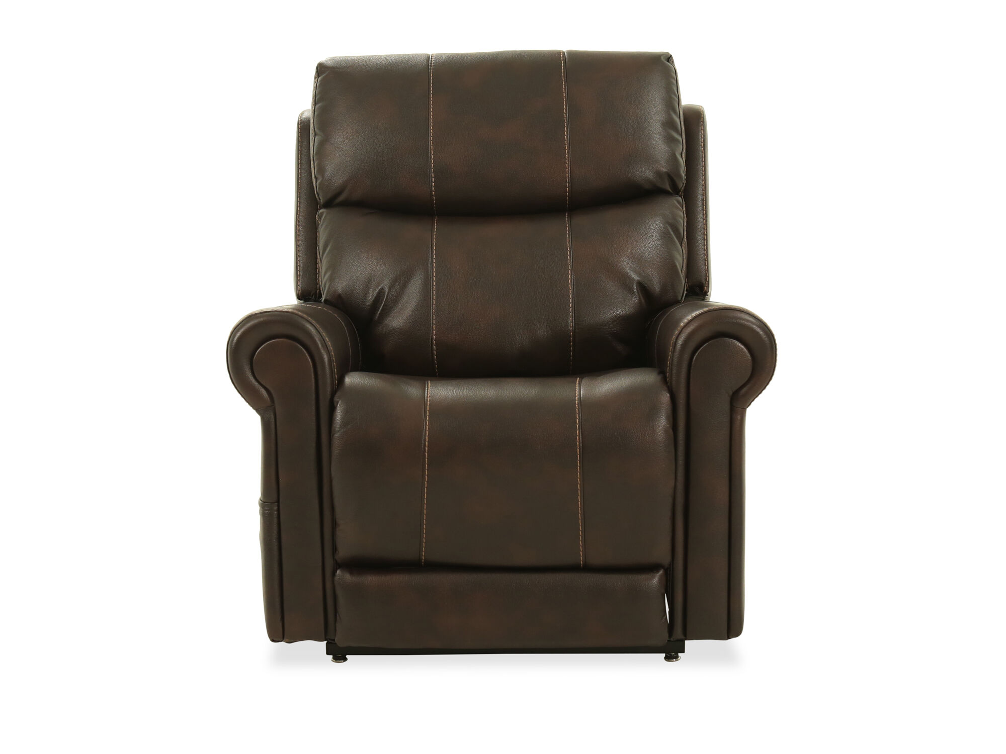 Rolled Arm Leather 38 Power Lift Chair In Brown Mathis