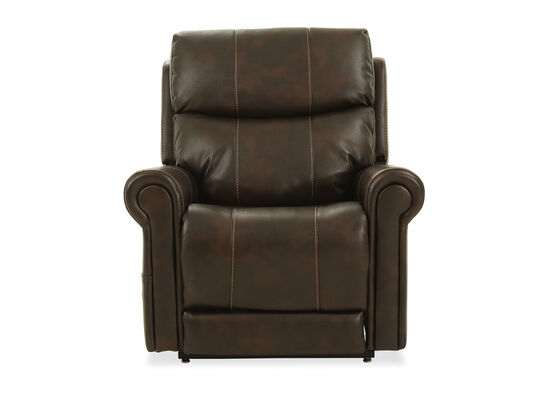 Rolled Arm Leather 38'' Power Lift Chair in Brown