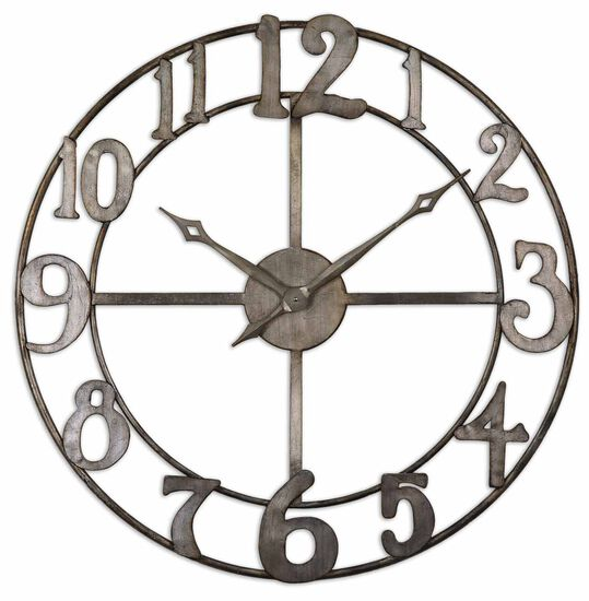 Open Frame Wall Clock in Antiqued Silver Leaf