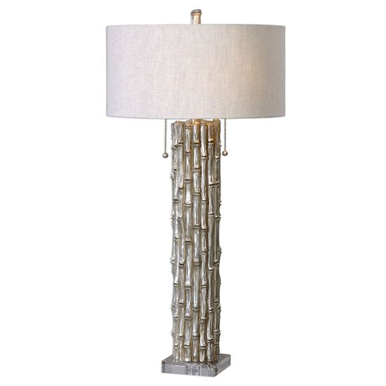 Crystal-Foot Textured Bamboo Table Lamp in Metallic Silver