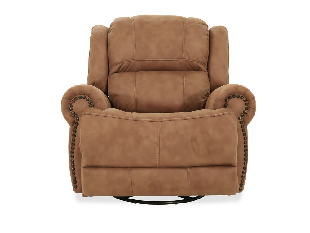 Nailhead-Accented Contemporary Power Swivel Recliner in Brown