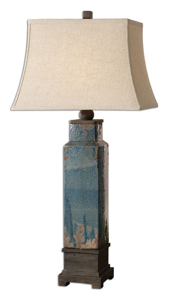 Distressed Table Lampin Blue Glaze