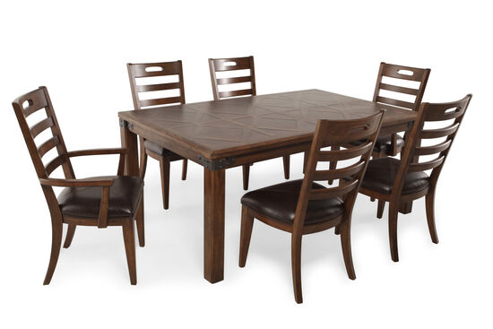Seven-Piece Traditional 70'' Dining Set in Medium Brown
