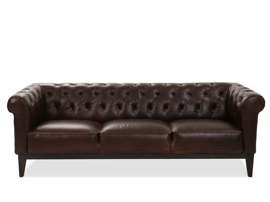 Tufted Leather Sofa in Cocoa