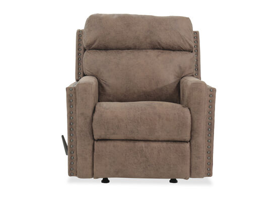 Nailhead Accented Leather Rocking Recliner in Brown