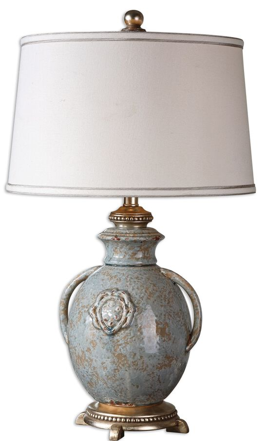 Distressed Ceramic Vase Lamp in Light Blue