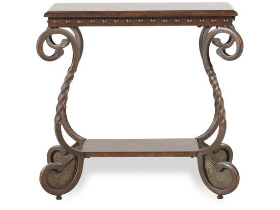 Rectangular Scrolled Legs Traditional Chairside Tablein Medium Brown