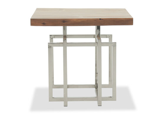 Geometric-Base Contemporary End Tablein Brown
