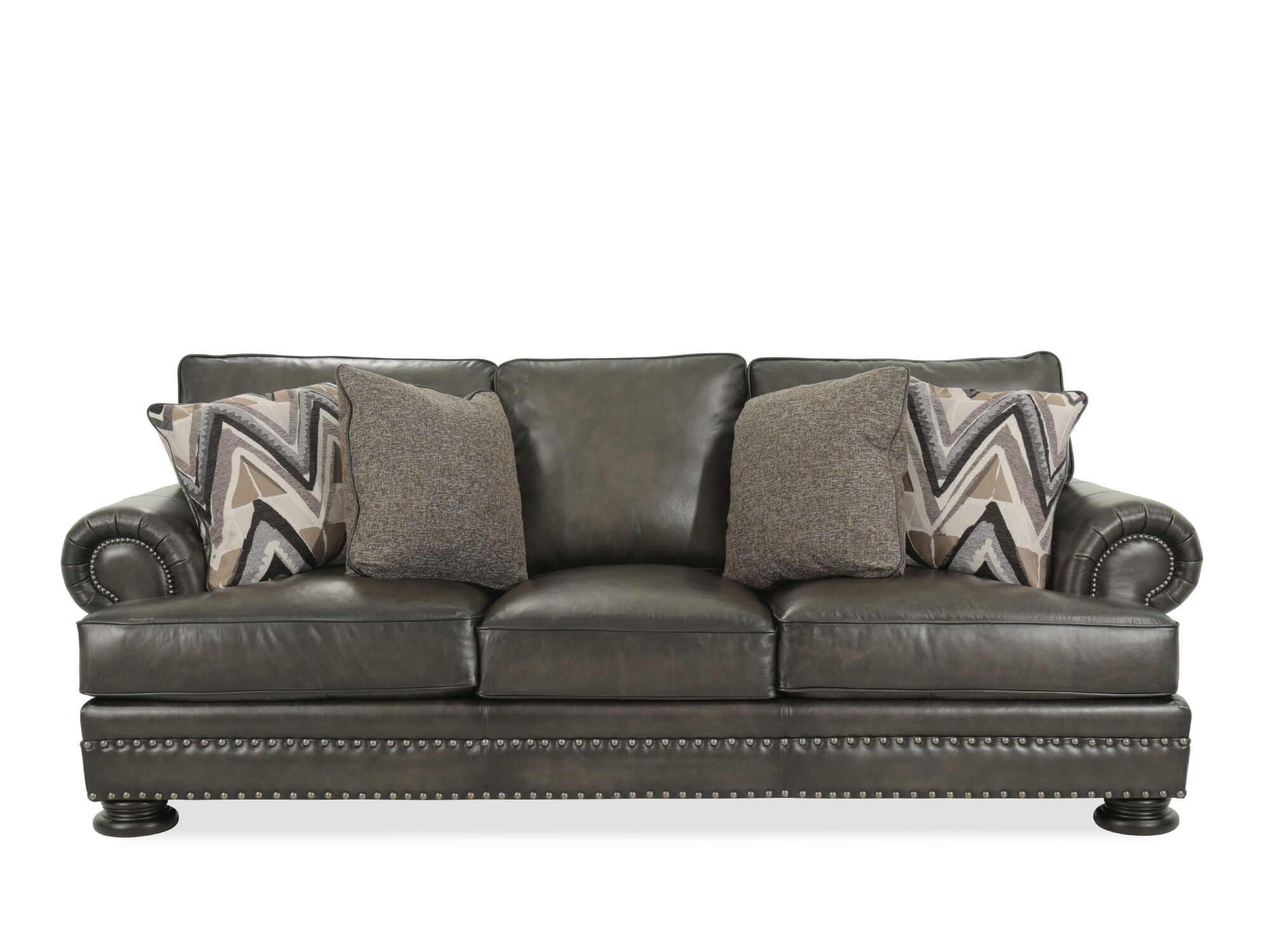 Leather Rolled Arm 98 Quot Sofa In Mocha Mathis Brothers