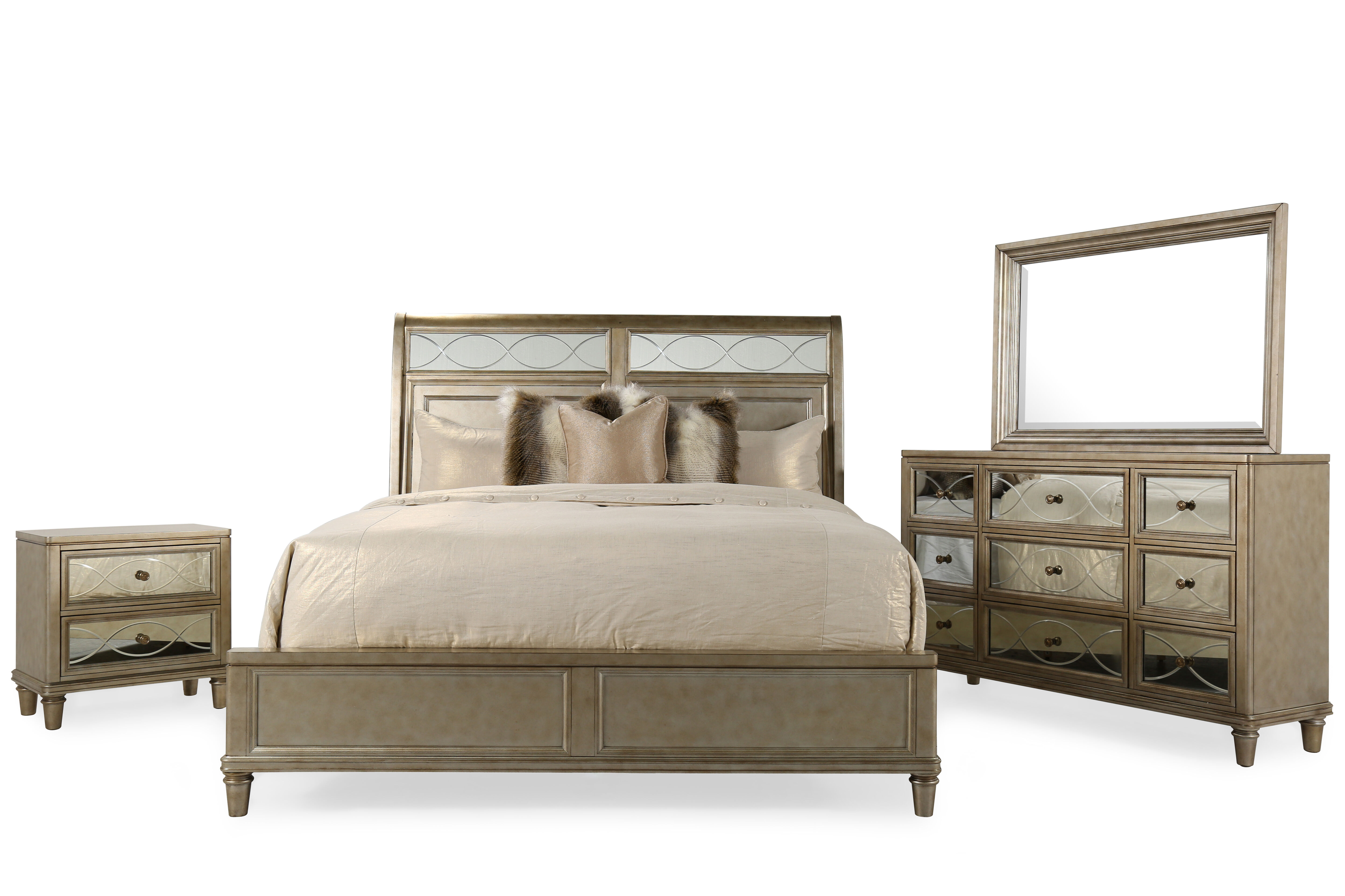 Four Piece Ovoid Glass Inserted Bedroom Set In Patina Champagne
