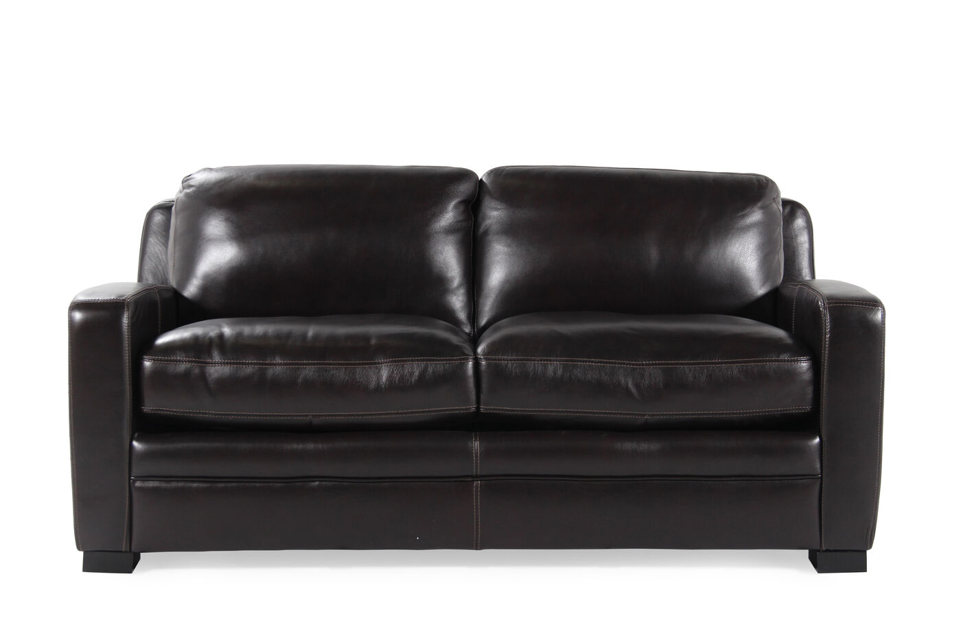 Traditional Leather 73 Quot Full Sleeper Sofa In Black
