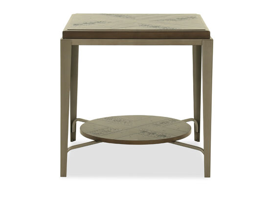 Square Modern End Table in Gray