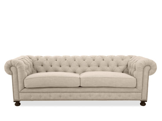 "100"" Low-Profile Tufted Silver Nailhead Trimmed Sofa in Linen"