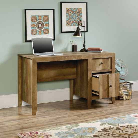 "53"" Contemporary Two-Drawer Desk in Craftsman Oak"