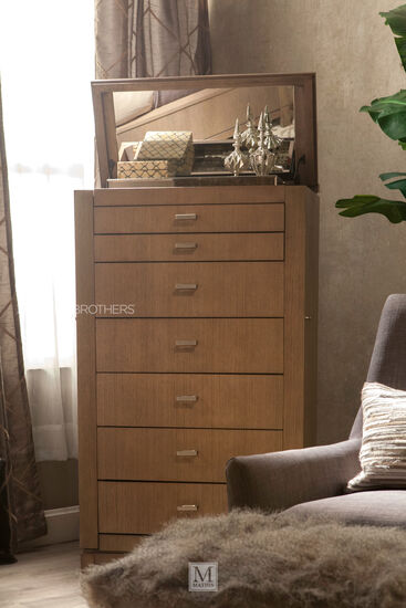 """60"""" Modern Seven-Drawer Jewelry Chest in Light Brown"""