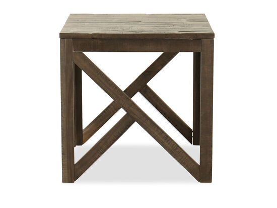 Contemporary Square End Table in Gray