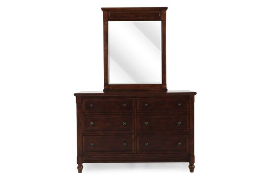 Six-Drawer Contemporary Youth Dresser and Mirror in Brown