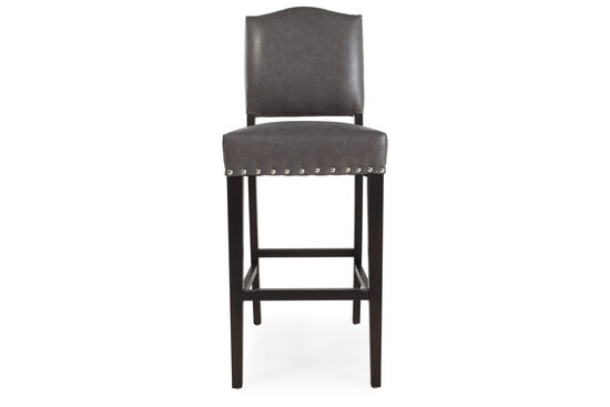 "Traditional 43"" Nailhead Accented Bar Stool in Gray"