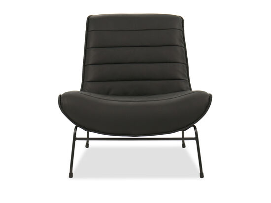 Casual Leather Accent Chair in Gray