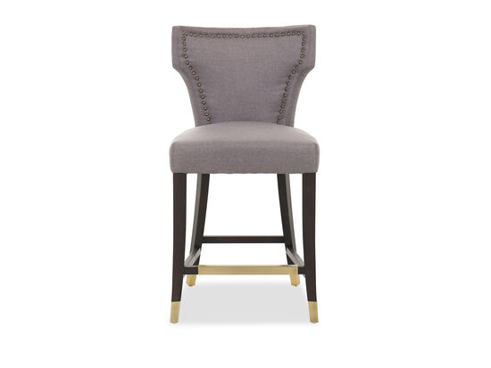 Casual Nailhead-Accented Counter Stool in Gray