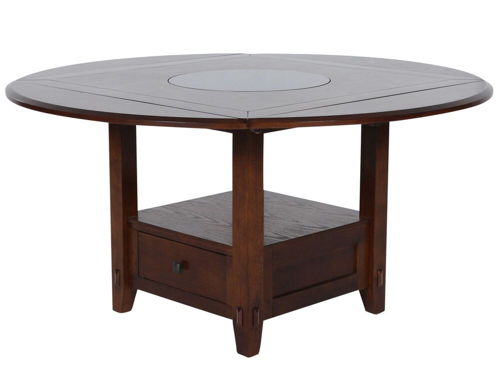 """Country 42"""" to 60"""" Storage Pedestal Lazy Susan Dining Table in Distressed Walnut"""
