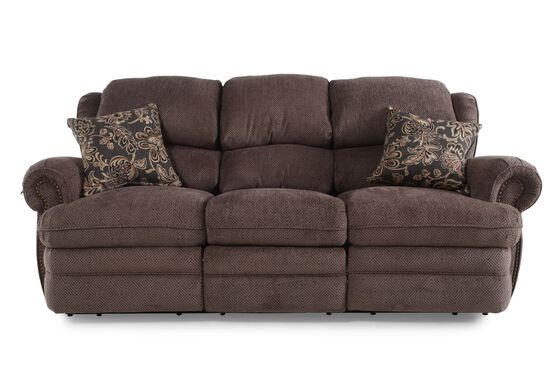 "Traditional 86"" Reclining Sofa in Brown"