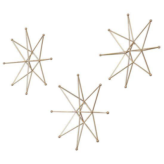 Three-Piece Stars Wall Art in Bright Gold Leaf
