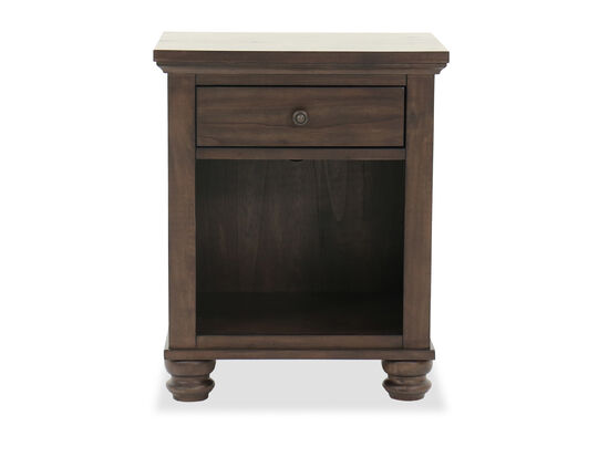 "Transitional 29"" Single-Drawer Nightstand in Chestnut"