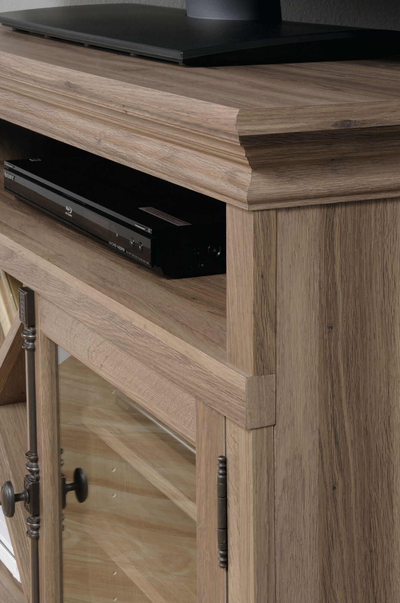 new product 94bd4 2652f Tempered Glass Door Corner TV Stand in Salt Oak| Mathis ...