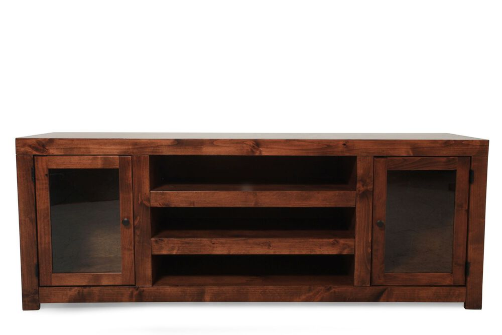 Framed Glass Door Contemporary Tv Console In Warm Fruitwood Mathis