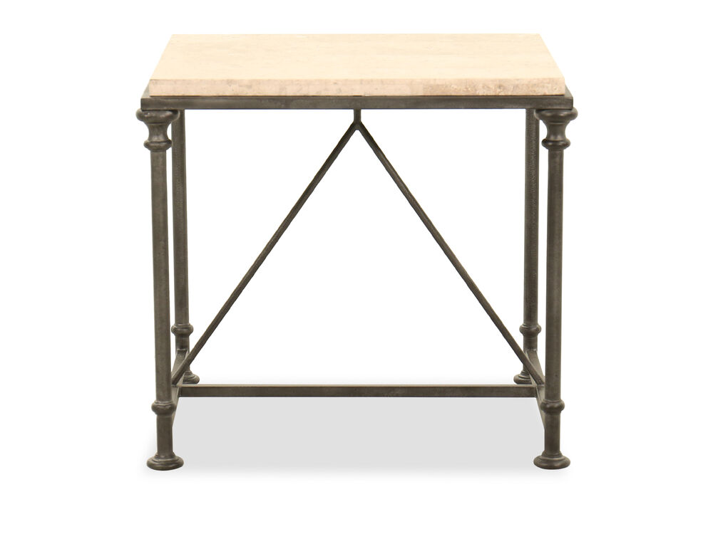 Rectangular Steel End Table in Antique Silver