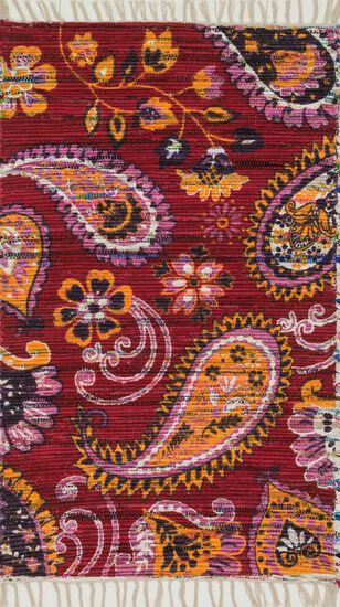 """Transitional 1'-8""""x3' Rug in Pink/Gold"""