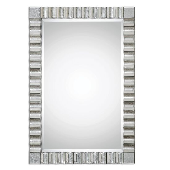 """42.5"""" Scalloped Antique Beveled Wall Mirror"""
