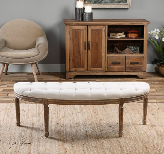 """Tufted 56"""" Accent Bench in White"""