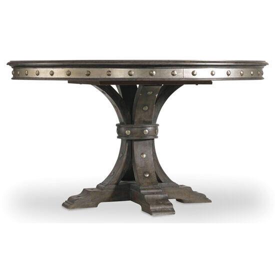 """Vintage West 54"""" Round Dining Table W/20"""" Leaf in Dark Wood"""