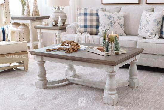 Casual Rectangular Cocktail Table in White