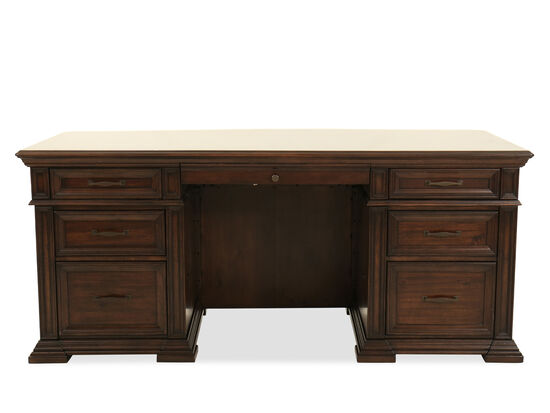 "74"" Traditional Executive Desk in Dark Brown"