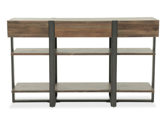 Two-Open Shelf Industrial Sofa Table in Rustic Honey