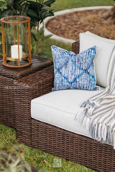 Contemporary Woven Patio Sofa in Dark Brown