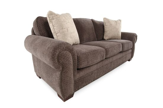 "Nailhead-Accented 90"" Sofa in Brown"