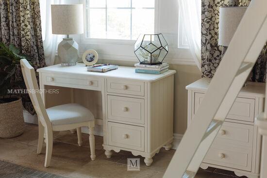 Four-Drawer Transitional Deskin White