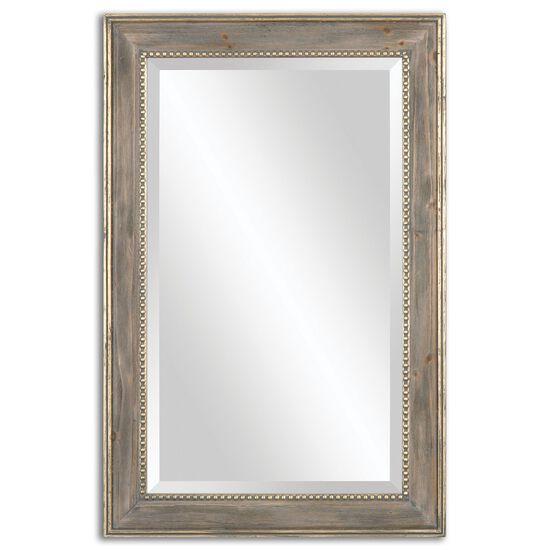 """35.5"""" Burnished Pine Frame Mirrorin Antique Gold Leaf"""