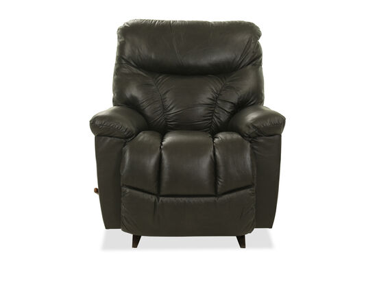 "Leather 38"" Rocker Recliner in Steel"