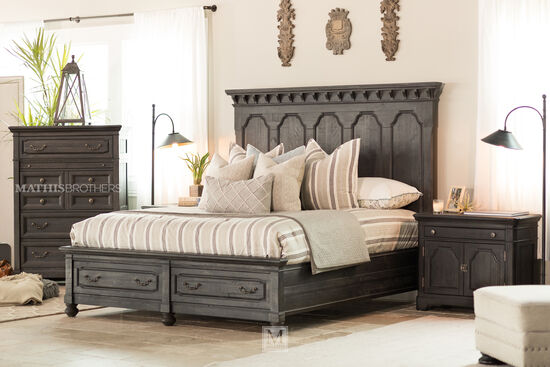 fourpiece distressed bedroom set in black  mathis