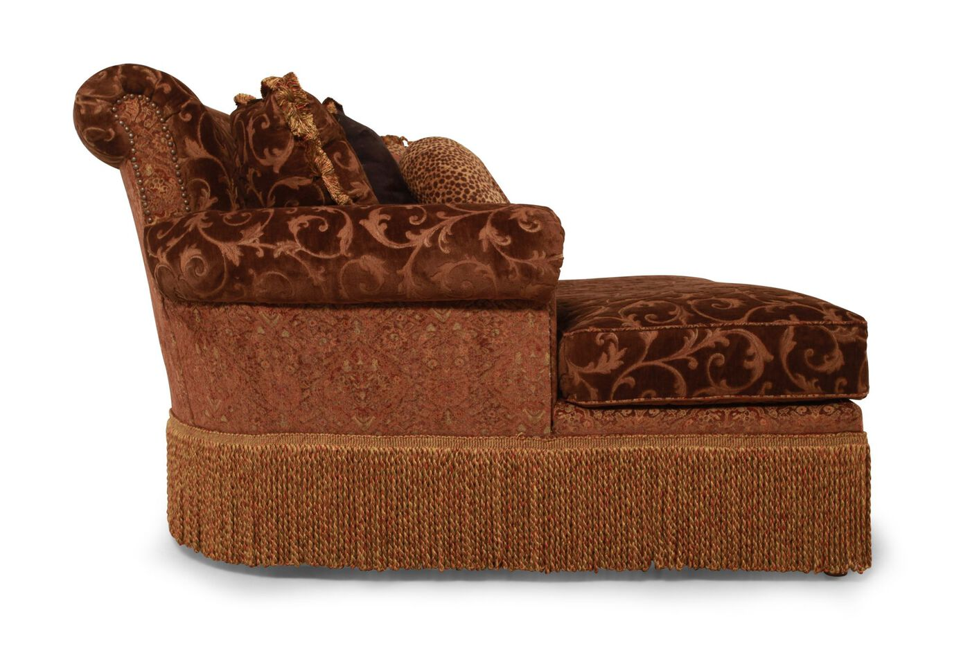 Fl Leaf Traditional Chaise In Russet