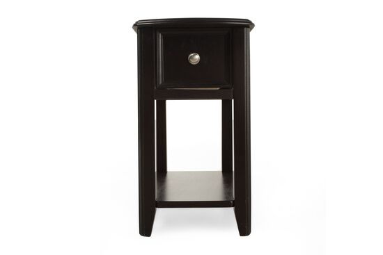 Open-Shelf Contemporary Chairside Accent Table in Black