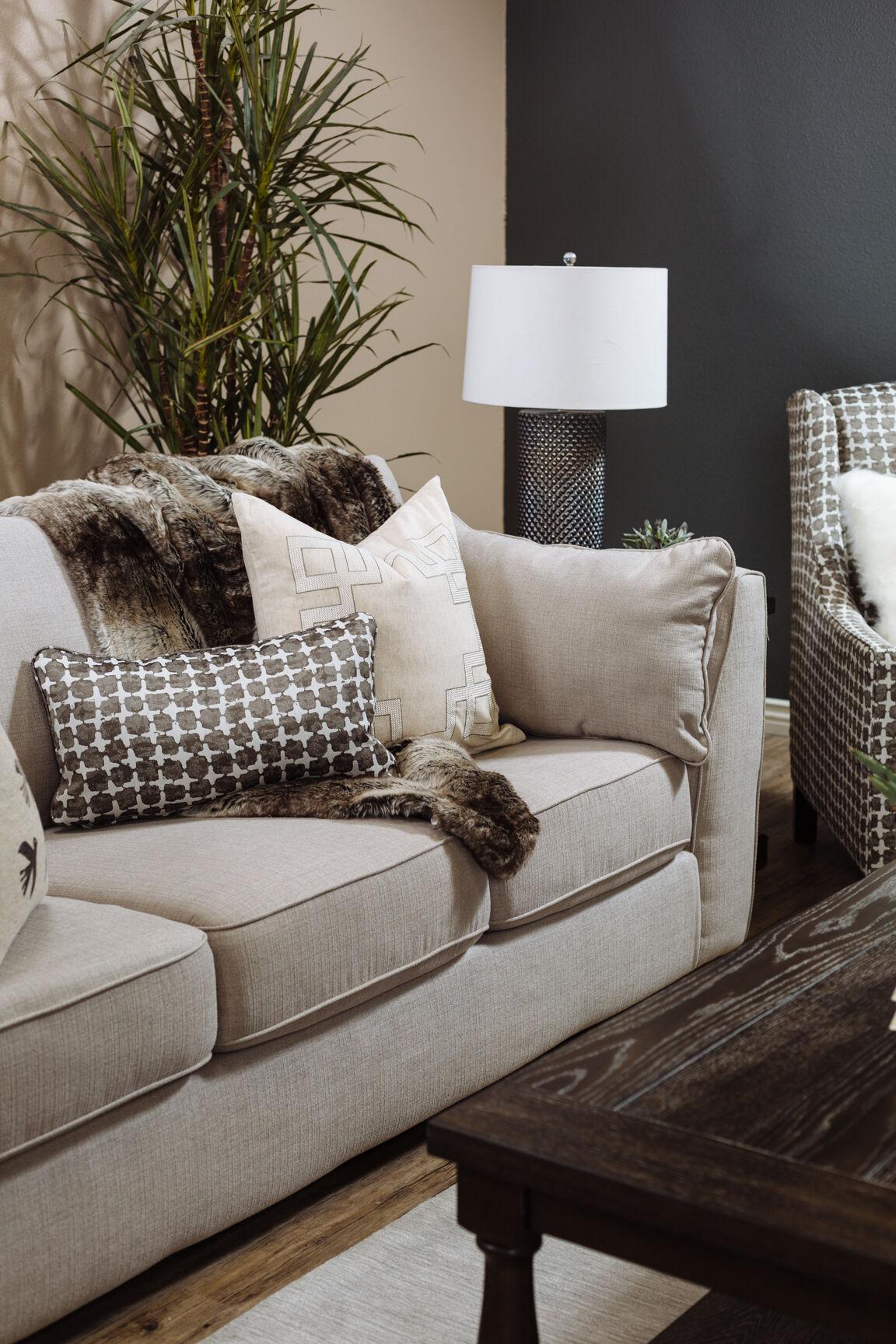 ... Beige Contemporary 93u0026quot; Box Sofa ...