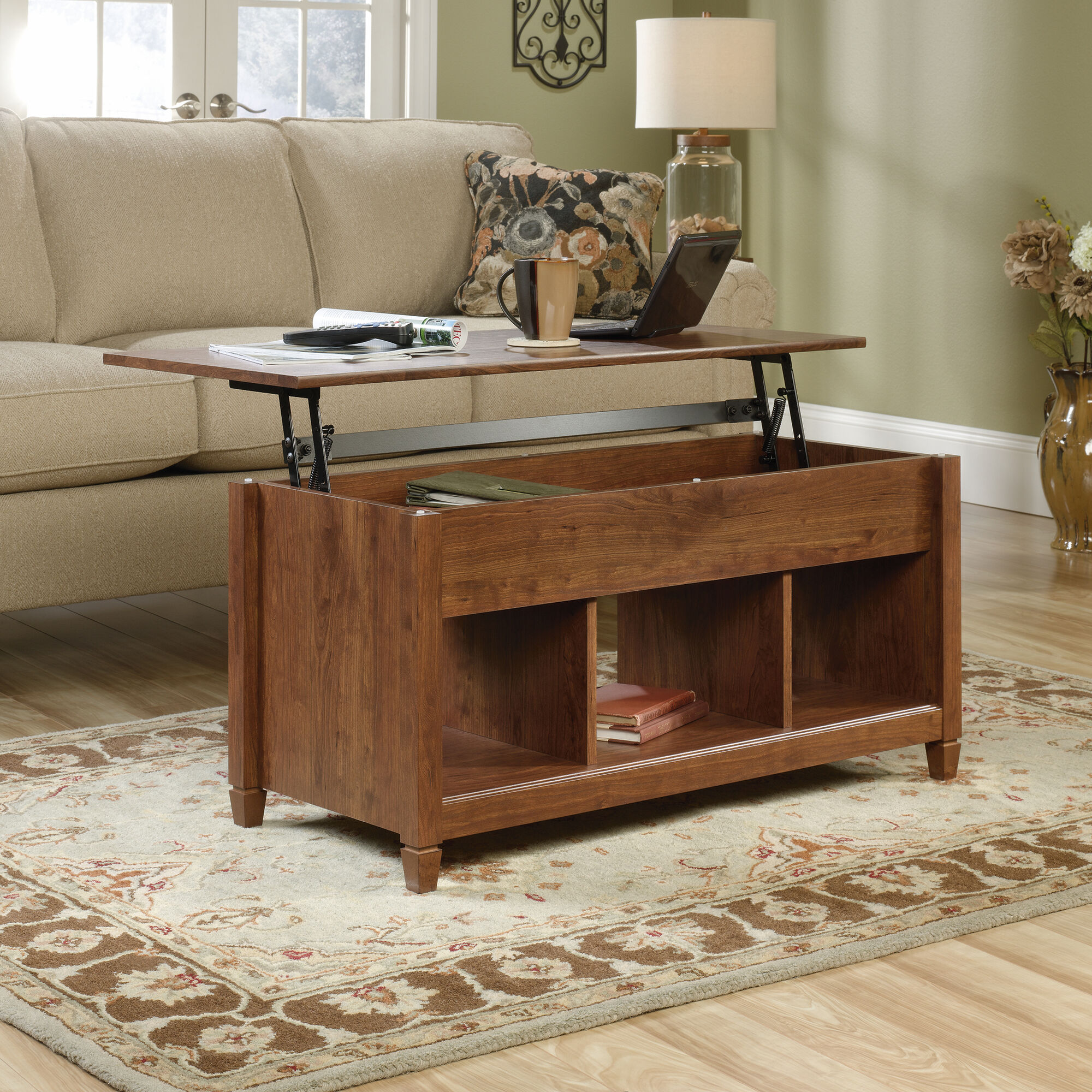 Rectangular Lift Top Contemporary Coffee Table In Auburn