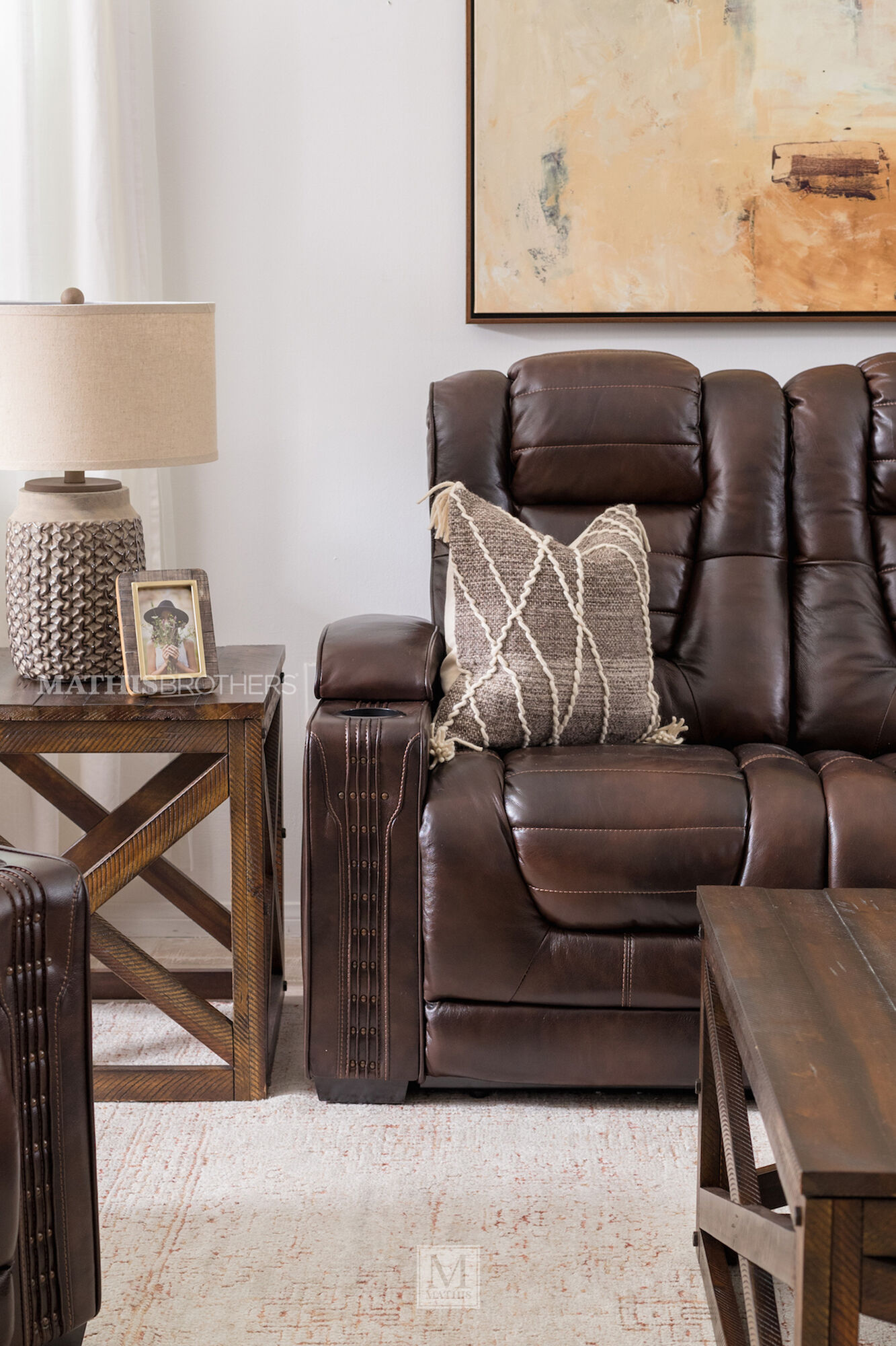 Leather 84 Quot Power Reclining Sofa With Cup Holder In Brown